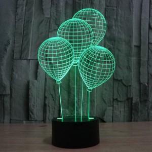 Die Ballonform 3D Nachtlicht mit Touch-Schalter LED Acryl 7 Farben Auto ändern 3D Illusion Lampe für Urlaub Deko Tischlampe