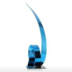 Das blaue steigende Band-Metallskulptur-Eisen-moderne Skulptur-Zusammenfassungs-Figürchen-Handwerks-Statuen für Dekorations-Verzierung