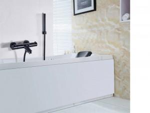 Thermostat Wasserhahn Dusche Wasserhahn Set Badezimmer Thermostat Wasserhahn Schwarz Mischbatterie W / ABS Handbrause Wandmontage XT405
