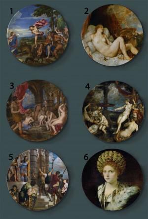 Tiziano Vecellio, der dekorative Platten-keramische Hauptkünstlerische Teller-Hotel-Hintergrund-Anzeigen-Venedig-Schulölgemälde-Platte malt