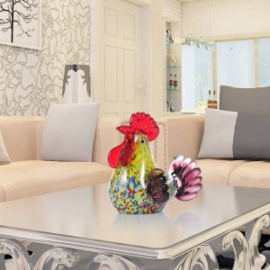 Multicolor Rooster Glass Sculpture Tierfigur Wohnkultur Ornament Geschenk Handwerk Dekoration Miniaturfiguren