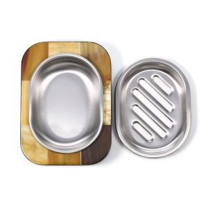 Seifenhalter mit Abalone Muschelstreifen / Hornstreifen aus Holz Seife trocken halten Leichte Reinigung Abfluss Badezimmer Ornament Seifenschale