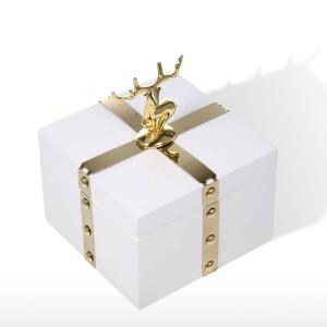 TOOARTS Square Jewelry Box Aufbewahrungskoffer aus Holz Weißer Ring Halskette Aufbewahrungsbox Geburtstagsgeschenke für Frauen Schwarzer Samt Geschenkbox