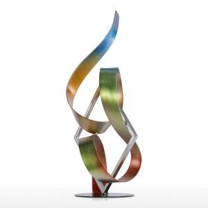 Statuen-Quadrat und Band-moderne Skulptur-Zusammenfassungs-Skulptur-Metallskulptur Innen-Außenhauptdekorations-Zusätze