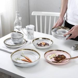 Top Bone Keramikschale Dinner Set Reisnudeln Schüssel Phnom Penh Marmor Muster Serie Keramikschale Familie Suppenschüssel Set