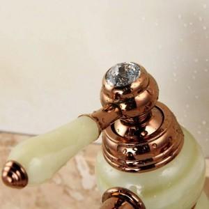 Bestnote Beauty Style Rose Vergoldet Marmor Stein Waschtischmischer Deck montiert Einhand Kupfer Bowlder Crane XT607