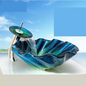 Gehärtetes Glas Waschbecken Podium Bad Abnormity Art Waschbecken Becken Sanitärkeramik Glas Schüssel Waschbecken blau Bad Waschbecken