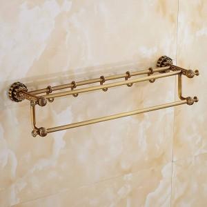 Handtuchhalter Moderner Stil Wandmontage Doppeltuch Messing Regalaufhänger Badzubehör Handtuchhalter mit Haken FE-8602