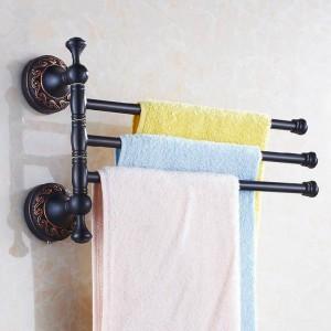 Handtuchhalter 3 Schienen Schwenkbar 35 cm Schwarz Messing Handtuchhalter Aufhänger Handtuchhalter Wandmontage Badzubehör Handtuchhalter H91328R