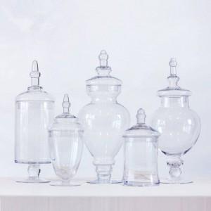 Transparente Candy Jar Party Dessert Vorratsflasche Esstisch dekorative hohe gestreifte Abdeckung Vorratsbehälter Gläser und Deckel