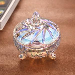 Transparentes buntes Kristallglas-Süßigkeitsglashochzeits-Süßigkeitsglasspeicherdosenschmucksachespeicher-dekorative Geräte