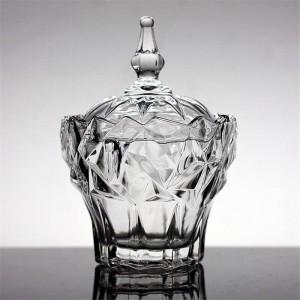 Transparente glas schmuckschatulle zuckerdose hochwertige bonbonglas gewürzdosen lagertank kristall schalen snack schalen container