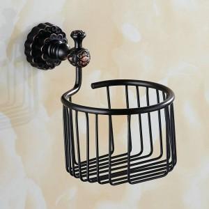 Twin Flowers Series Carving Messing schwarz Runde Badezimmer Korb Papierhalter Bad-Accessoires WC Eitelkeit