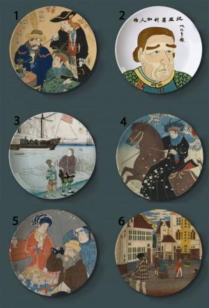 Ukiyo-e, das dekorative Platten-japanische Art-keramische Hauptkünstlerische Teller-Hotel-Stab-Hintergrund-Anzeigen-Ölgemälde-Platten malt