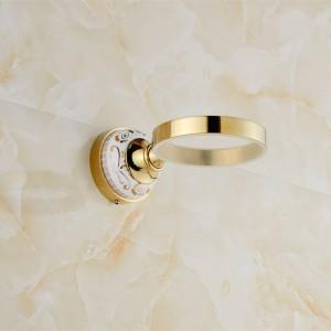 Vergoldeter Toilettenbürstenhalter aus massivem Messing im europäischen Stil Bad-Bürstenhalter-Set Badzubehör 9091K