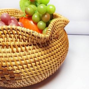 Vietnam Rattan Tee Punkt Box handgemachte Obstkorb getrocknete Früchte Teller Snack Korb nach Hause Ablagekorb kreative Desktop-Speicher b