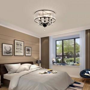 Vintage Eisen schwarz Deckenleuchte LED Kristall Schatten moderne Kronleuchter Decke Nordic Lighting Home Wohnzimmer Dekor Lampe