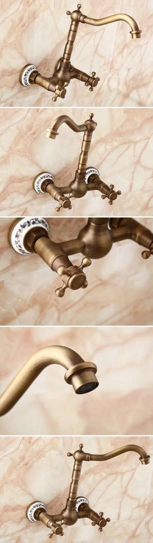 Wandarmaturen Küche Schwenkbar Wasserhahn Bad Becken Porzellan Messing Waschbecken Kran Mischbatterie 9058AP
