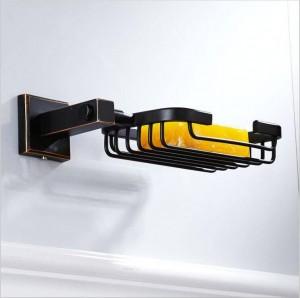 An der Wand befestigter neuer amerikanischer Quartetschassis-Badezimmer-Hardware-Anhänger schwarzer Bronze-Seifennetz-Kupfer-Seifenständer 9033K