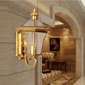 Wasserdichte LED E27 Hof Licht Garten Wandleuchte Licht Balkon Flur Kupfer Wandleuchte Glas Lampenschirm Innen- / Außenbeleuchtung