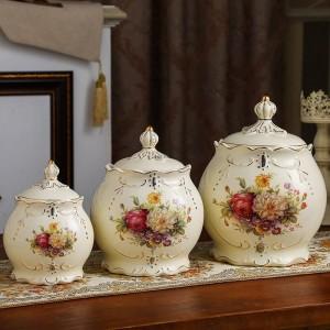 Hochzeitsdekoration Sealed Topf Keramik Vorratsbehälter Getreide Verschiedenes Getreide Teedosen Gurken Gläser Küchen Süßigkeiten Dosen