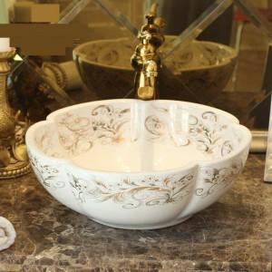 Weiße Blumenform Handgefertigtes Lavabo-Waschbecken Kunstwaschbecken Keramik-Aufsatzwaschbecken Waschtisch