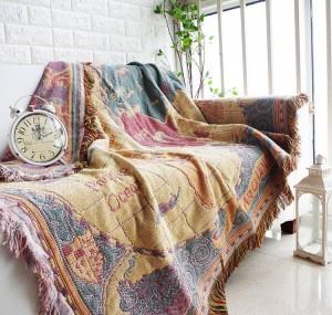 Weltkarte Decke Weihnachtsgeschenk dekorative Cobertor Manta Para Sofa / Betten Travel Plaid rutschfeste Nähte Decken Quaste