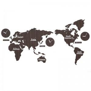 Weltkarte Wanduhr Wohnzimmer Nordic Persönlichkeit Uhr Hintergrund Wanddekoration Uhren DIY Holz Wanduhr Wanddekoration