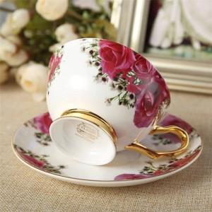Keramik Nachmittag schwarzer Tee Tassen und Untertassen Knochen Kaffeetasse mit Tablett Porzellan Drink Set Dropshipping