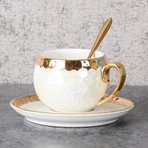 Türkische Kaffeetassen Keramik Mit Edelstahllöffel Gold Inlay Porzellan Kaffeetassen Untertassen Sets Nachmittagstee Teetasse