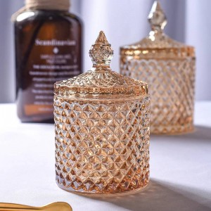 Gelbe rhombische Kristallglas Kaffeewürfel Zuckerdose Zylinder Wattestäbchen Box Blume Teekanne Hause Schmuck Aufbewahrungsbox Namen
